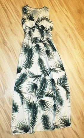 Biała sukienka w zielone liście długa zwiewna wesele 38 M