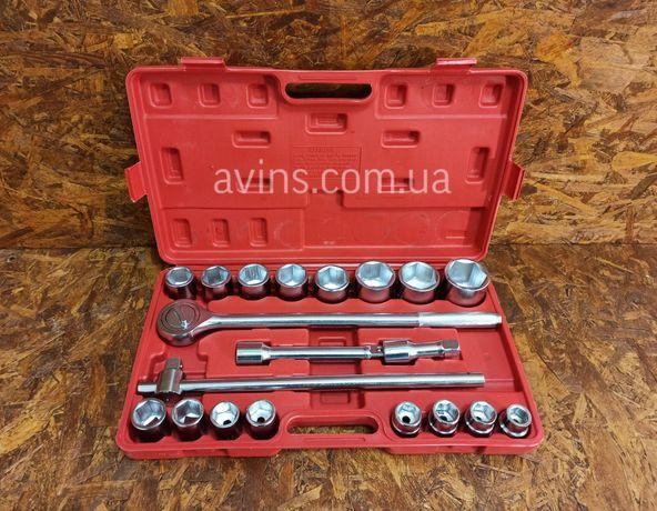 Качественный набор торцевых головок 3/4 6 гранных 19-50 мм 21 придмет