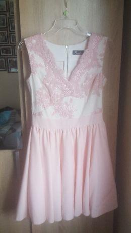 sukienka biała pudrowy róż koronka Lou