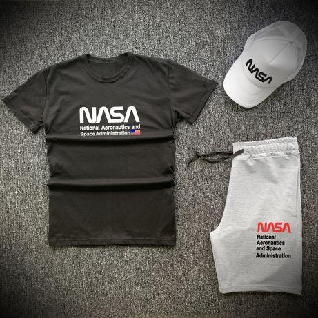 Стильные летние комплекты Nasa (Наса)  шорты, футболка, кепка - 3 в 1