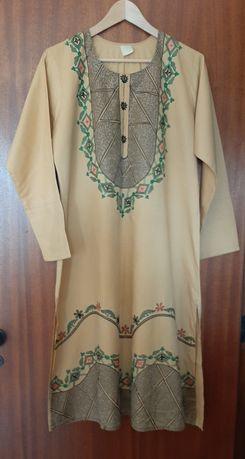 Vestido, túnica comprida camel
