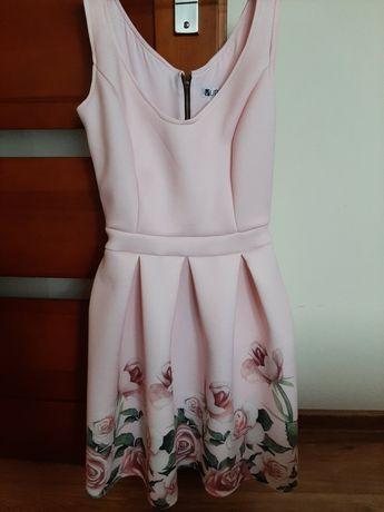 Rozkloszowana, sukienka z pianki, rózowa, kwiaty, wesele rozmiar 36 S