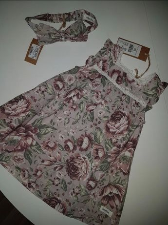 Zestaw Newbie sukienka plus opaska r. 86