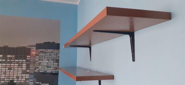 Solidne półki na ścianę ze wspornikami (130,5/25 cm)