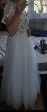 Suknia ślubna kremowa - koronka tiul romantyczna boho 2021