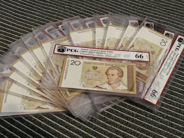 Banknot kolekcjonerski 1szt, 20zl Juliusz Slowacki, Grading PCG, 66