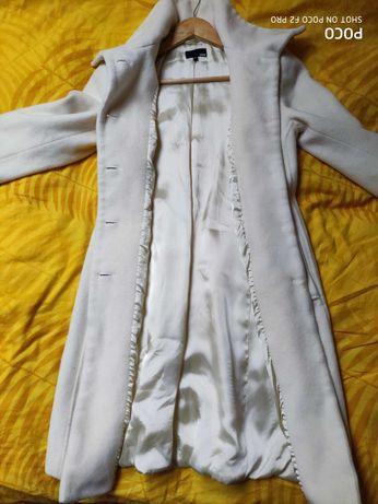 Biały kremowy płaszcz H&M wełna i kaszmir rozmiar 34