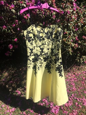 Sukienka koktajlowa żółta Jane Norman r. 36 S