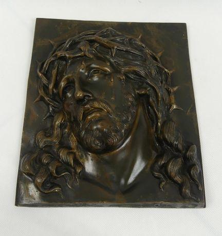 PŁASKORZEŹBA brąz Jezus obraz 28x24 BIRUCHOFF
