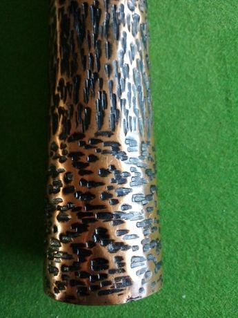 Unikatowy mosiężny wazon z łuski 24.5x5.5