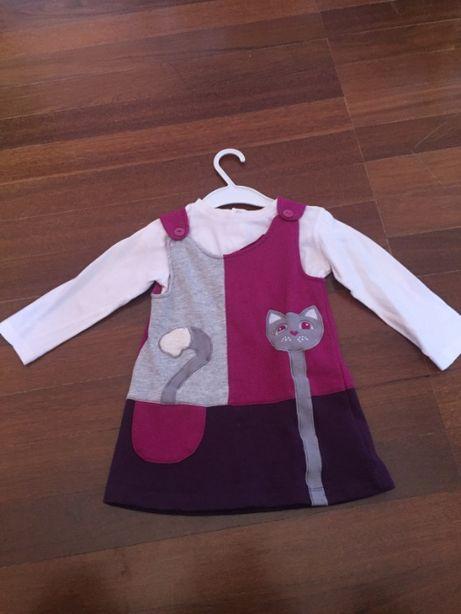 conjunto: vestido roxo + blusa branca