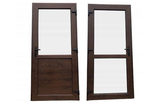 Drzwi PCV zewnętrzne sklepowe 90x210 orzech RÓŻNE ROZMIARY OD RĘKI