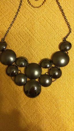 Naszyjnik, rękodzieło metaloplastyka.czarny perłowy.