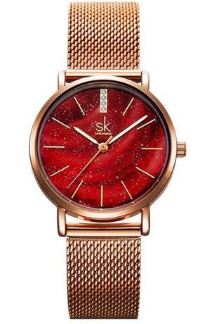 Shengke SK NOWY Złoty zegarek damski na bransolecie z czerwoną tarczą