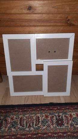 Drewniana biała ramka na 4 zdjecia 10x15cm