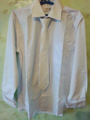 Белая свадебная рубашка с длинным рукавом  и галстуком