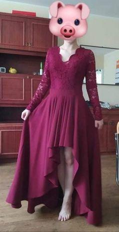 Bordowa długa sukienka s. Morris