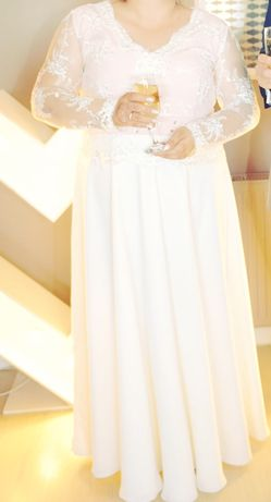 Suknia ślubna plus size ecru pudrowy róż koronka