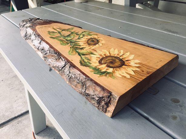 Obraz malowany na drewnie
