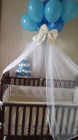 Набор в кроватку балдахин с держателем и защита бортики на кроватку