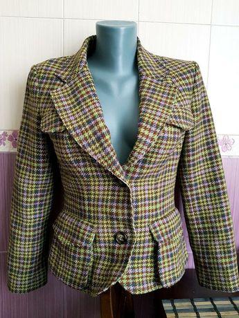 Шерстяной брендовый пиджак в клетку Tara Jarmon