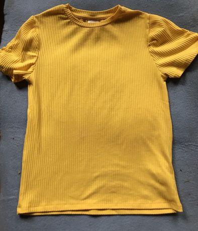 Желтая футболка Zara в рубчик