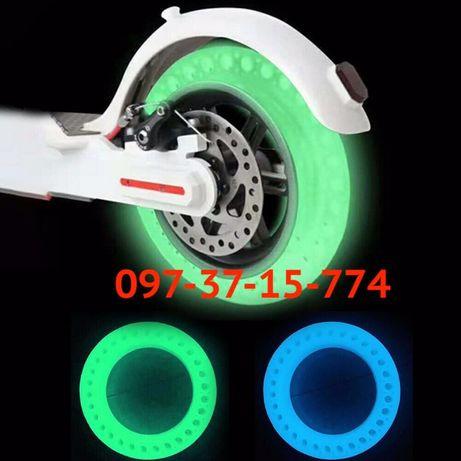 Литая, Антипрокольная покрышка шина для Электросамоката M365 8,5 Синий