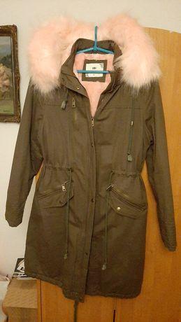 Nowa kurtka parka khaki z jasno różowym futerkiem rozmiar XL