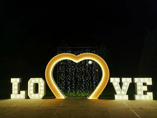 Dekoracja światłem/ Ciężki Dym/ Fotobudka/ Napis Miłość/ Love