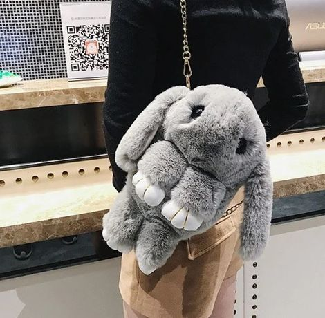 Детская сумка рюкзак меховой заяц рюкзачок сумочка для девочки ребенка