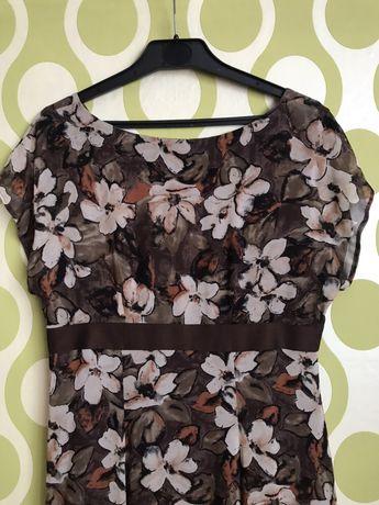 Sukienka wiosenno letnia brązowa w kwiaty L beż