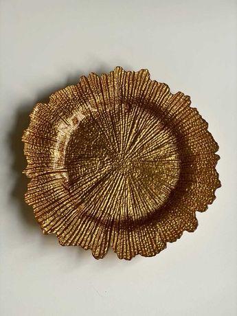 Тарелка подставная декоративная золотая (d=33.5 см)