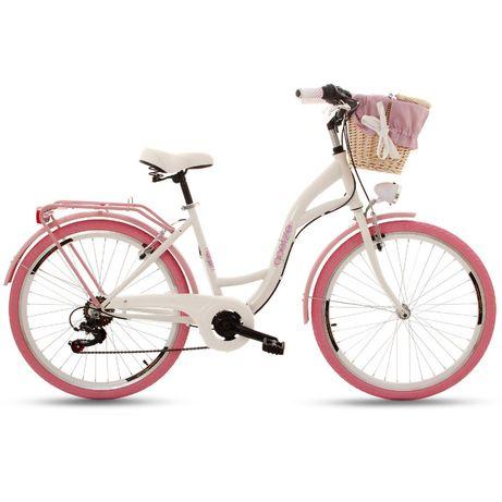 """NOWY rower miejski/damski Goetze Mood 26"""" 7 biegów shimano BIAŁY RÓŻ"""