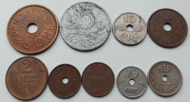 Коллекция монет Скандинавии орэ 1927 - 1946 гг. 9 монет