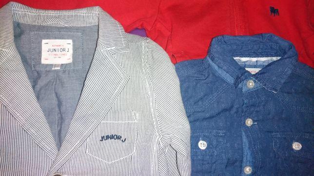3 rzeczy z firmy Junior J marynarka, koszula, bluza z kapturem 2Y