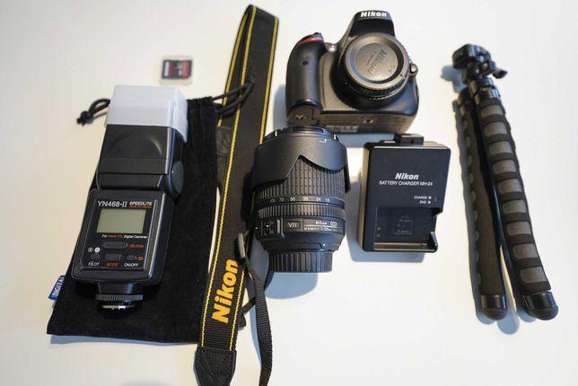 Nikon D5100 + Obiektyw 18-105 + Lampa + Karta + Statyw elastyczny