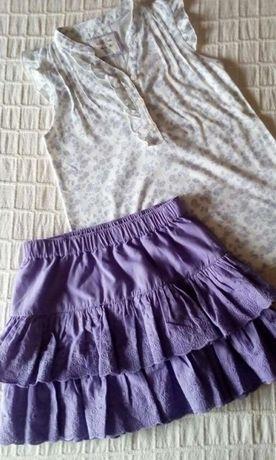 Conjunto T-shirt + Saia com folhos lilás 6-7 Anos