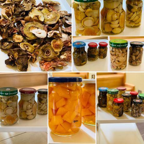 grzyby suszone, marynowane, dynia, soki wlasne wyroby