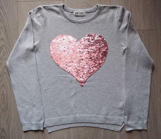 Szary sweterek z cekinkowym sercem dla dziewczynki-H&M,rozmiar 134/140