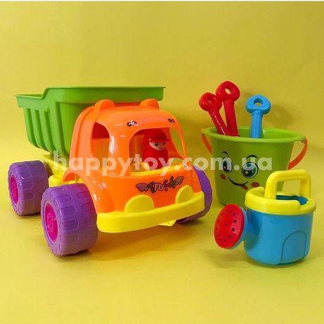 Большой песочный набор машина самосвал, ведро, лопата, грабли
