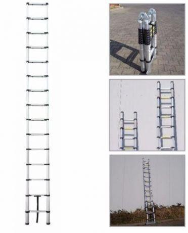 Escada Telescópica de 5 metros, faz escadote, Nova
