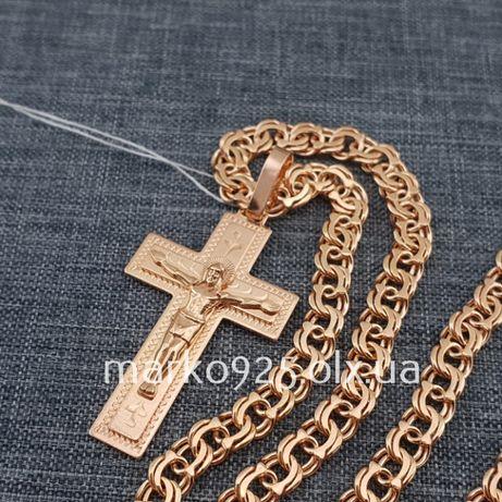 Топ! Позолоченная серебряная цепочка с крестиком Комплект цепь и кулон