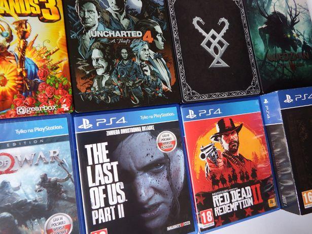 PS4 LAST OF US 2 Wiedźmin 3 STEEL GOW STEEL UNCH 4 ciekawe tytuły hity