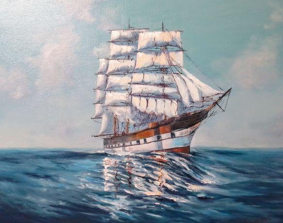 Морской пейзаж,острова,маяк,картина маслом.