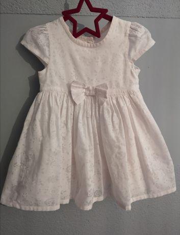 Sukienka delikatna, pudrowy róż, 3-6 Msc 62/68