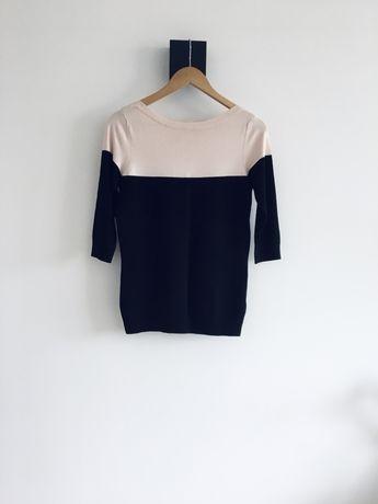Sweter longsleeve Mohito basic dwukolorowy czarny pudrowy róż