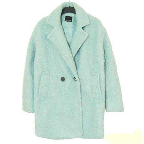 Bershka miętowy krótki płaszcz z klapami boucle L