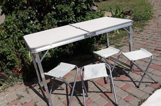 Стіл УСИЛЕННЫЙ для пікніка 4 стула + ЗОНТ. Столик стол для пикника