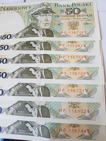 Banknoty prl 50 zł seria HP 1988r