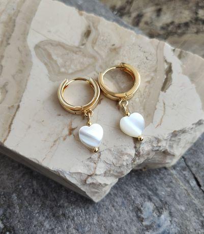 Kolczyki serca kolczyki serduszka z masy perłowej selfie perły perła
